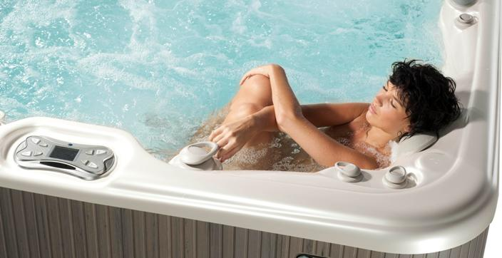 Mom relaxes in a Hot Tub