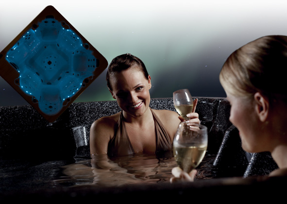 Women drinking in a hot tub